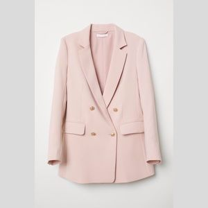 Pale pink double breasted blazer